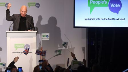 Sir Patrick Stewart addresses the crowd during the People's Vote campaign launch on Brexit at the El