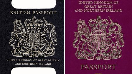 An old British passport and a burgundy UK passport in the European Union style format
