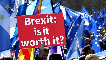Demonstrators at a Brexit protest march in Edinburgh, which is demanding a final vote on the Brexit