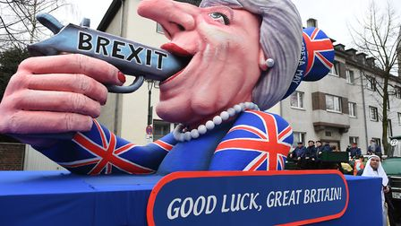 A float focusing on the outcome of the British EU referendum in Dusseldorf, Germany. Photo: Federico
