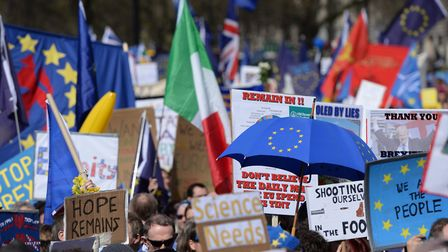 Placards and flags are held by pro-EU protesters taking part in a March for Europe rally against Bre