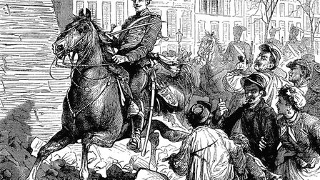 Occupation of Paris by the Germans after the Franco-Prussian War, March 1871. The first German troop