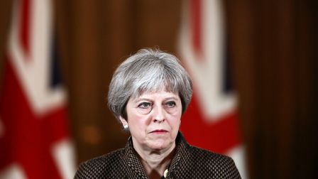 Prime Minister Theresa May during a press conference in 10 Downing Street, London on the air strikes