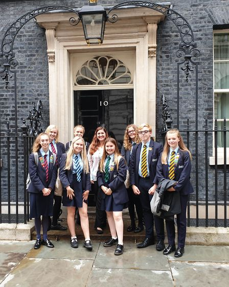 Schoolchildren from Great Yarmouth borough visited 10 Downing Street after taking part in a debating