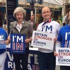 Theresa May campaigning to Remain in the EU referendum. Photograph: Twitter.