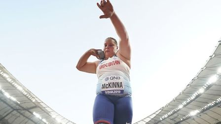 Sophie McKinna at the World Athletics Championships in Doha Picture: PA