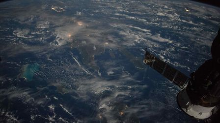 Earth orbit - A satellite view of the Caribbean islands of Puerto Rico, Cuba, Haiti, and the Dominic