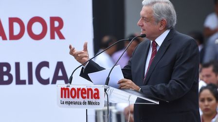 Andres Manuel Lopez Obrador (AMLO) is seen during a meeting with his followers at outside of the Nat