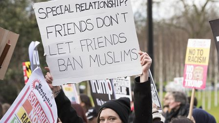 A protest against Trump's travel ban and a possible state visit in the UK on 4th February 2017. Phot