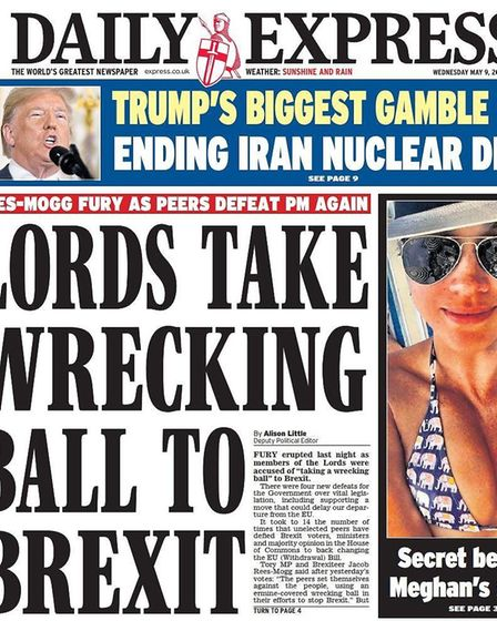 Front page of the Daily Express after the Lords victory. Image: Daily Express.
