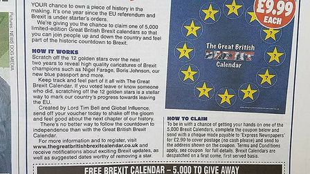 """Advertisement for the """"Great British Brexit Calendar"""" from the Daily Express. Image: Daily Express."""