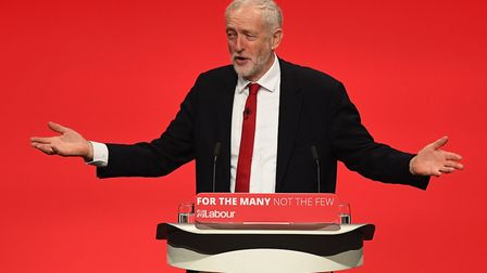 Jeremy Corbyn addressing party supporters at Labour Party Conference in 2017. (Photo by Leon Neal/Ge