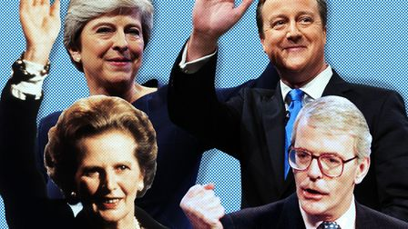 Conservative prime ministers tormented by Europe: Margaret Thatcher, Theresa May, David Cameron and