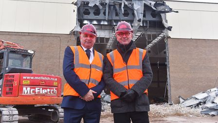Demolition of Marina Centre in Great Yarmouth. Trevor Wainwright, Labout Group and Carl Smith Counci