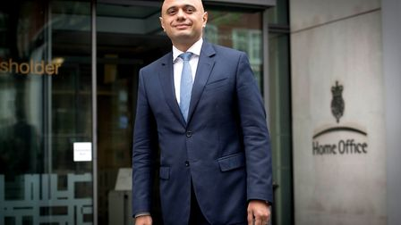 Sajid Javid outside the Home Office in Westminster, London, after he was appointed as the new Home S