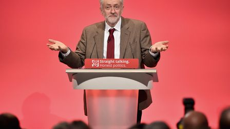 BRIGHTON, ENGLAND - SEPTEMBER 29: Labour leader Jeremy Corbyn delivers his first speech as leader o