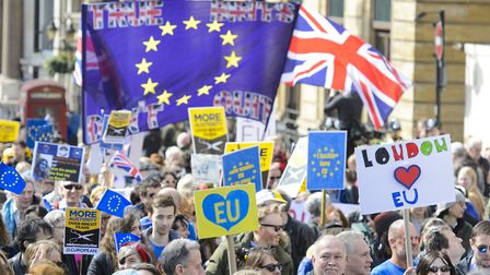 Protesters take part in a March for Europe rally against Brexit in Piccadilly, central London. Pictu