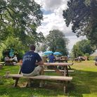 Customers enjoying the garden at the Lion at Thurne last summer July 2019 before the lockdown. The l