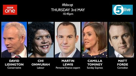 The BBC Question Time panel for Thursday 3 May 2018. Picture: BBC Question Time.