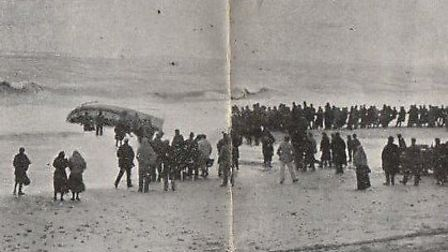 The wreckage of Caister lifeboat Beauchamp was finally broken up in 1966. She capsized on a rescue l