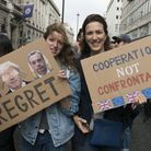 Young women campaigning against Brexit. Photograph: Ik Aldama/PA/DPA.