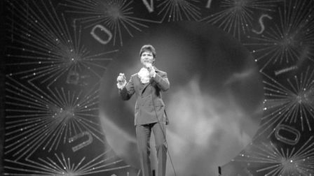 Cliff Richard from Great Britain sings 'Congratulations' in practise before the finals of Eurovision