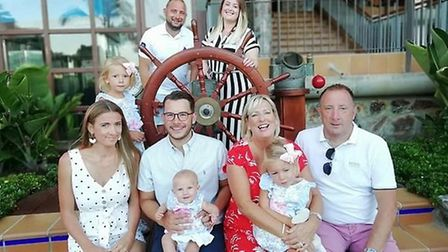 Back row: Aaran Shepherdson (his son) Becci Davey (son's partner). Middle: his granddaughter. Front: