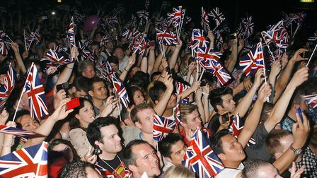 Fans with Eurovision Flags for Blue performing ahead of their Eurovision entry at G-A-Y Heaven on Ap