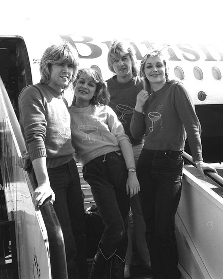 British Eurovision Song Contest winners Bucks Fizz at Heathrow Airport. Photo: PA Archives