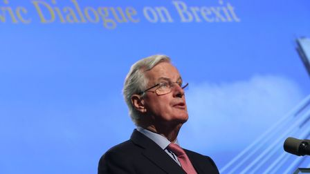 Michel Barnier speaking at a press conference at Dundalk Institute of Technology. Photo: Niall Carso