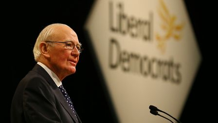 Sir Menzies Campbell delivers a speech, during a debate on Europe, on the third day of the Liberal D