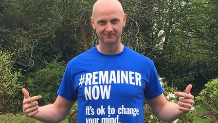 Hugh Norris, a Leave voter who is now campaigning for the Remain cause. Photograph: Hugh Norris.