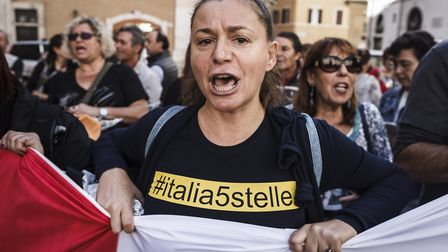 Five Star Movement activists held a demonstration, in front of the Chamber of Deputies in Montecitor