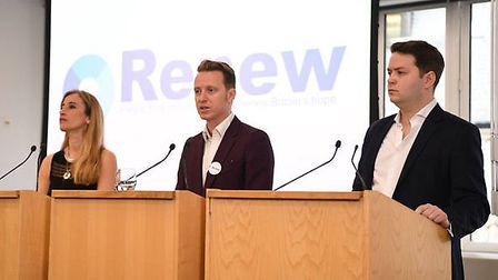 Sandra Khadhouri, James Clarke and James Torrance at the launch of new political party Renew. Photog