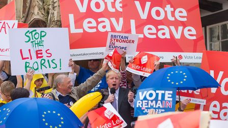 Boris Johnson in Winchester as part of his tour on the Vote Leave campaign bus. Picture: PA