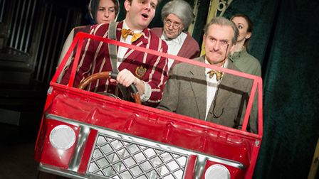 The cast of Eastern Angles latest comedy vehicle Dial M for Murgatroyd; Emma Finlay, Samuel Martin,