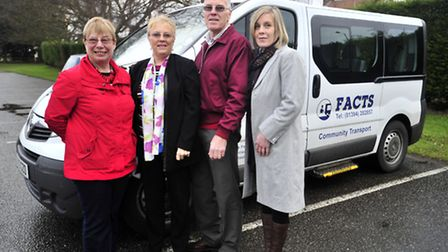 Some of the team for FACTS with their new minibus - Caroline Hazell, Doris and Harry Riley and Emma