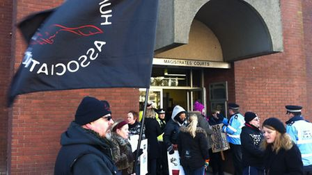 Protestors outside South East Suffolk Magistrates' Court
