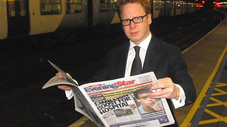 Ben Gummer MP at Ipswich Railway Station before boarding an early morning train to London