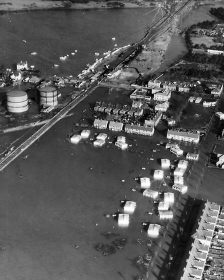 An aerial view of the flood-hit area of felxistowe in 1953 - the estate of prefabs can clearly been