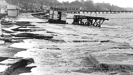 Felixstowe seafront in the 1953 floods.