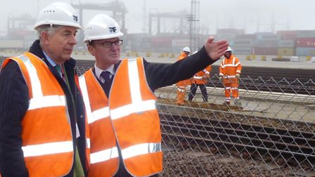 MEP Geoffrey Van Orden and Paul Davey, head of corporate affairs at the Port of Felixstowe, at the c