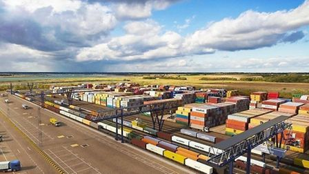 An artist's impression of how the new north rail terminal at the Port of Felixstowe will look when c