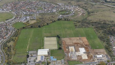 An aerial shot of the new Ipswich Academy site.
