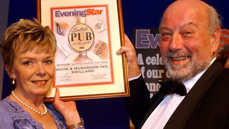 Adrienne and Clive Goodall pictured after their pub, the Moon & Mushroom in Swilland, was named the
