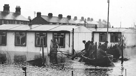 Prefabs at Felixstowe in the 1953 floods - this picture was taken the day after when the waters had