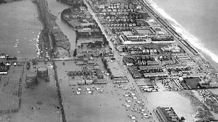 Aerial view of the area of Felixstowe affected by the 1953 floods.