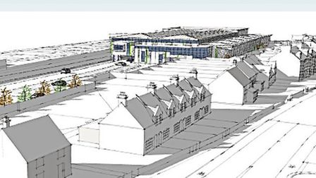 An artist's impression of the superstore Albourne Property wants to build on old railway sidings beh