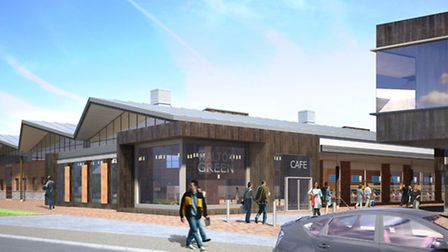 An artist's impression of a view of the new Walton Green Tesco at Felixstowe from Walton High Street
