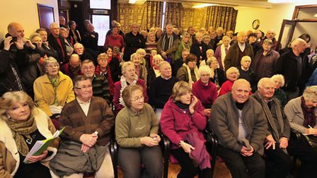The first public meeting over the hut and chalet rent rises at Felixstowe.
